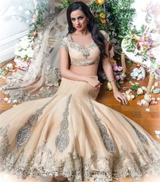 Short Kaftan Canada - Luxury Two Pieces Indian Arabic Prom Evening Dresses 2016 Mermaid Short Sleeve Champagne Vintage Lace beaded Plus Size Kaftan Dubai