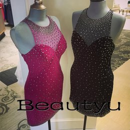 Robe Courte Taille En Strass Pas Cher-Little Black Luxe Robes courtes en strass Sexy Club Wear 2017 Sheer Illusion Robe de cocktail pour femmes Satin Mini Prom Party Robes