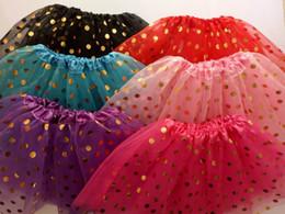 Discount kids summer christmas clothes - 2017 New Sale Gold Polka Dot kid girl's tutus skirt dance dresses soft ballet skirt children pettiskirt clothes