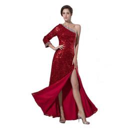 $enCountryForm.capitalKeyWord UK - Burgundy Sequined Fabrics Evening Dress Attractive Split Leg Long Sleeve Ladies Fashion Party Dress 2017 New