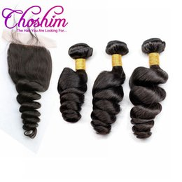 brazilian human hair for weaving Australia - Slove Hair brazilian virgin hair Loose Wave Silk Base Closure With 3or4 Bundles For Black Woman Baby Hair Grade human 10A