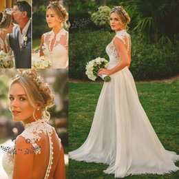 $enCountryForm.capitalKeyWord Canada - Modest Beach Wedding Dresses with Removabel Chiffon Skirt Deep V Neck See Through Buttons Back Custom Made Country Bridal Gowns