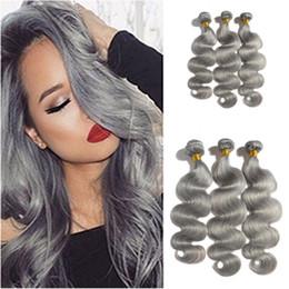Neu ankommen 9A Grade Malaysian Body Wave Graue Haarwebart Silber Grau Körper Welle Human Haare Erweiterungen Graues Reines Haar zum Verkauf im Angebot