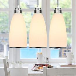 Discount white kitchen sets - 3pcs set glass pendant lamp Modern Minimalist Pendant Light glass lampshades Creative Restaurant modern design home ligh