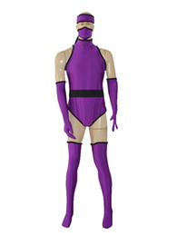 Spandex Surhéros Personnalisé Pas Cher-Custom Purple Ninja Superhero Costume Halloween Party Zentai Suit