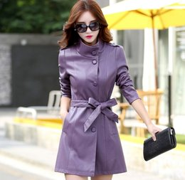 Manteaux Violets Pour Femmes Pas Cher-Coréenne Long Ladies Veste en cuir Lady Nouvelle Automne manteau Purple Slim Belt cuir Trench Coat Femmes Cool Outwear Coat Free Ship HFY39