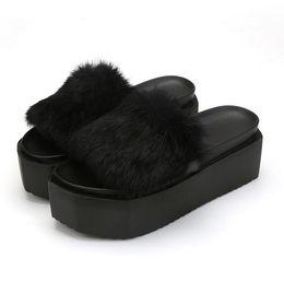 35 Hair UK - 2017 Summer Women's Fur Slippers Rabbit Hair Thick Bottom Flats Flip Flops Fur Sandals Casual Flats Platform Ladies Autumn Shoes Size;35-39