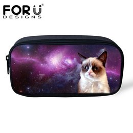 China Wholesale- FORUDESIGNS Women Professional Makeup Bag Cute Cat Dog Galaxy Space Pencil Case Bags Pen Pouch for Children Girls Boy Organizer supplier pencil cases for boys suppliers