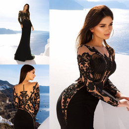 Barato Trompete Applique-Sexy Black Mermaid Evening Dresses Jewel Neck Long Sleeve Com Appliques Illusion Trumpet Celebrity Dress Custom Made Evening Party Gowns