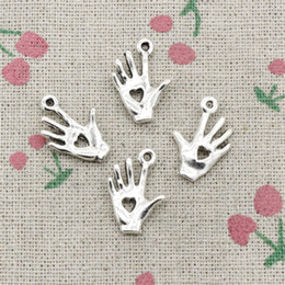 Alloy Hand Canada - 100pcs Charms Antique Silver palm hand heart cut 12*18mm Pendant,Zinc Alloy Pendant DIY Makeing Jewelry Bracelet Necklace Fittings
