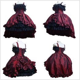 Robes Gothiques Cosplay Pas Cher-Lace Gorgeous rétro plissé sans manches bretelles Cosplay Prom Dress Fashion Gothic Lolita Backless Ball Gown 2017 Real Photo