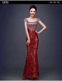 Robes À Manches Longues À Perles Courtes Pas Cher-2017 Sexy Red Sequined Mermaid Robes de soirée Crystal perlé Scoop à manches courtes Long Party Robes de bal Robe Red Carpet Dress Custom Made