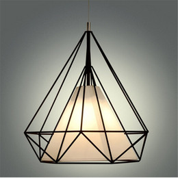 China Vintage Chandelier Industrial Ceiling Light Bird Cage Pendant Lighting Art Diamond Pyramid Pendant Lamps for Kitchen Dining Room Bar Hallway cheap industrial cage light chandelier suppliers