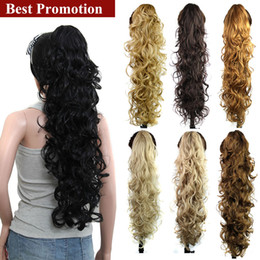 Discount hair clip tail curly - Wholesale-75CM Fake Curly Synthetic Drawstring Ponytails Pony Tail Extension Hair Clip In On Tails Horse Tress Postiche