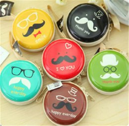 Wholesale Cartoon Cute Big Beard Face Designs Round Portable Storage Box For Earphone Wire Electric Wire