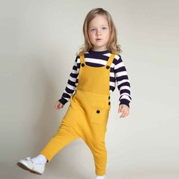 Barato 2t Girl Suspender-New Autumn Baby Girls Overalls Knit Cotton Boy Roupas Harem Pants Knit Kids Suspender Boy Meninas Calças 5 cores Jumpsuit