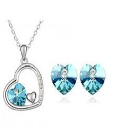 Fashion jewelry sets online shopping - Fashion Heart Crystal Set DHL Pendant Necklace Charm Stud Earrings Love Jewelry Sets Necklace And Earrings Noble Jewelry for Women Set