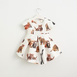 Barato Roupa Do Partido Das Crianças-Cute kitty Printed Girls Dresses manga curta Princess Dresses Childrens vestido de festa plissada Moda Kids Summer Dress Girl Roupa A676
