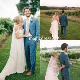 $enCountryForm.capitalKeyWord Canada - Elegant Beach Boho 2019 Lace Wedding Dresses A-Line Sweetheart Ruffled Pleated Long Chiffon Garden Bridal Gowns for Traditional Wedding