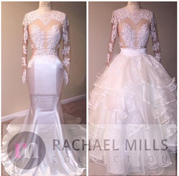 Summer beach wedding dreSSeS for gueStS online shopping - 2017 New Summer Beach Wedding Dresses With Overskirts Sexy Illusion Bodices Lace Appliqued Sheer Long Sleeves Bridal Gowns For Wedding Guest