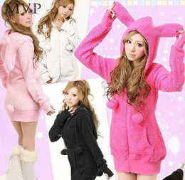 Cute Hoodies Ears Wholesale Pas Cher-Vente en gros - Cute Bunny Ears Hoodies Veste en mousseline de soie WarmFluffy Balls Fleece Sweatshirts Hoodies Manteau d'hiver Sweat-shirt à encolure femme 4 couleurs