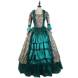 Southern Belle Dress Xl NZ - Medieval Princess Masquerade Gown Gothic Victorian Royal Women Green Dress Southern Belle Ball Gown Theater Costume