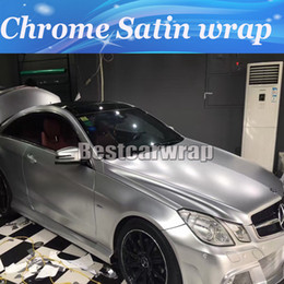 Top sTickers online shopping - Top quality Silver Chrome Satin Vinyl Car Wrap styling Foil covering stickers Chrome Vehicle WRAPPING skin size x20m Roll x66ft