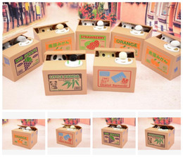 Wholesale Piggy Bank Panda Bamboo Automatic Stole Coin Panda cat Automatic Stealing Coin Saving Money Box Piggy Bank for kid KKA2516