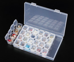 Wholesale Plastic Craft Case NZ - 28pcs Powder Paillette Rhinestone Nail Storage Box Case Plastic Container Nail Art Accessories