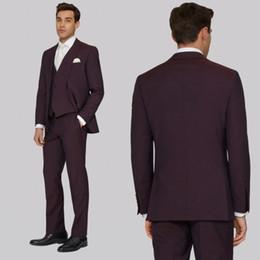$enCountryForm.capitalKeyWord Australia - Handsome Men Suits Tuxedos For Wedding Three Pieces Dark Burgundy Groom Bridal Suits Custom Made Groomsmen Suits Jacket+Vest+Pants