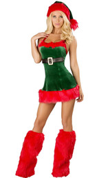 costume cosplay skirt red UK - Hot Sale Sexy Cosplay Christmas Party Dress Women Gift Sexy Skirt Christmas Hat Hollween Ladies Dress Santa Claus Costumes Free Size