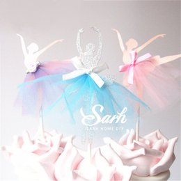 ballet gifts for girls 2019 - Wholesale- 8pcs lot Wedding Love Dancing Ballet Girl Series Insert Card with Plastic Stick Cake Decoration for Wedding B
