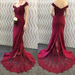 long bridesmaid dresses sheer back NZ - Sexy Burgundy Bridesmaid Dresses Mermaid Long Wedding Party Dresses Off Shoulder Zipper with Buttons Back Sheer with Applique Formal Dress