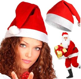 Adults Christmas Hats Canada - Hot Selling Fashion non-woven Christmas Hats Decorations Cheapest Christmas Hats Wholesale Adult Children Christmas Gift Cap Free DHL