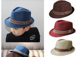 Straw Hat Trilby NZ - Summer Unisex Kids Straw Fedora Sunhat Beach Fashion Panama Cap With Ribbow Trim Children Soild Trilby Hats For Boy And Girl