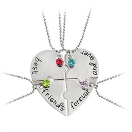 "Discount necklaces best friend forever 4pcs set ""best friends forever and ever"" Pendant Necklaces Heart Shaped Color Rhinestone Friendship BFF Creative Girls Keepsake"