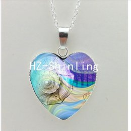 Vintage Glass Domes Necklace Australia - New Sea Shell Heart Necklace Vintage Octopus Heart Pendant Shell Jewelry Glass Dome Necklace NHT-005