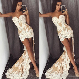 Short Orange Sweetheart Prom Dresses Canada - Sexy Hi Lo Lace A Line Prom Cocktail Dresses 2017 Sweetheart Front Short Back Long Plus Size Evening Occasion Party Wears Custom Made
