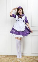 Lolita Cosplay Hot Pas Cher-Hot Sale 2017 Violet / Blanc à manches longues Anime Maid Uniform Cosplay Costume Gothic Lolita Mini Dresses