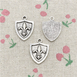 $enCountryForm.capitalKeyWord Australia - 65pcs Charms medal fleur de lis 22*16mm Tibetan Silver Vintage Pendants For Jewelry Making DIY Bracelet Necklace