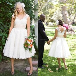 79236c2b3f8 2017 A-Line V-neck Tea Length Lace Wedding Dresses Backless Cap Sleeve  Ruched Sash Garden Casual Plus Size Vintage Bridal Gowns Cheap