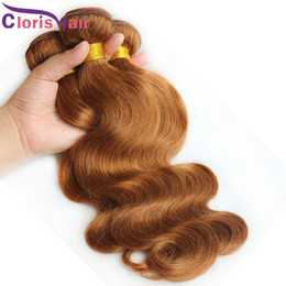 Discount cheveux human hair New Medium Auburn Peruvian Human Hair Weave Body Wave #30 Hair Extensions 3 Bundles Deals Cheap perruque cheveux humain Double Drawn Weaving