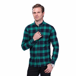 man casual long shirt trends UK - New Arrival Men's Casual Shirt Fashion Plaid Long Sleeve Shirt Mens Clothing Trend Casual Slim Fit Office Shirts Men Work Shirt YH-073