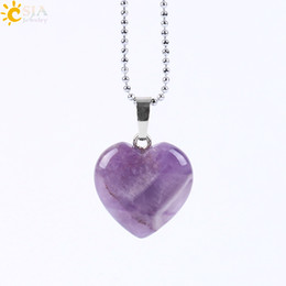 black agate heart NZ - CSJA 2017 New Women Summer Jewelry Pendant Necklace Lovely Heart 8 Natural Gemstone Amethyst Rose Quartz Clear Crystal Black Agate E594 B