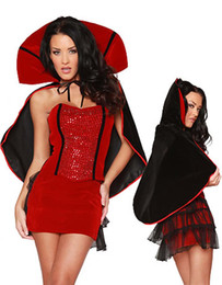 Wholesale halloween sexy outfit online – ideas Sexy Classic Vampire Theme Costume Red Mardi Gras Cosplay Outfits Rhinestone Studded Strapless Corset High Collar Halloween COS Uniform