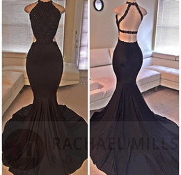 Robes De Soirée Spéciales En Dentelle Pas Cher-Sexy Black Halter Long Robes de bal Mermaid Style Lace Sequin Beaded Backless Side Slit Evening Dressess Formal Special Occasion Party Dress