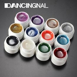 Discount colors nail art uv gel builder - Wholesale-Nail Art 12 Colors Manicure UV Gel Mix Glitter Buliding Polish Set Solid Pigment Builder Acrylic Tips Glue