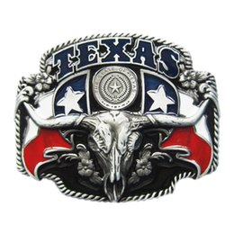 belt bull NZ - Men Belt Buckle Black Enamel Texas State Flag Longhorn Bull Belt Buckle BUCKLE-WT100BK Gurtelschnalle Boucle de ceinture Free Shipping