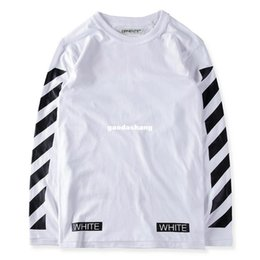 16332348 Best version 2017 winter off white Orange box flocked field stripe Long  Sleeve L S crewneck long sleeve cotton t-shirt tee