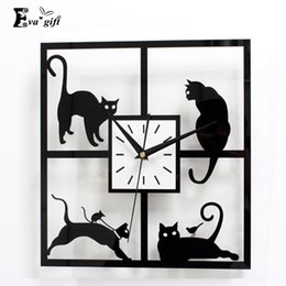 Wholesale Cute Catu0027s Design Wall Clock Decor Black Acrylic Clock Wall Watch  For Study Living Room Bedroom Home Wedding Decor Mute Quartz Discount Black  ... Part 87